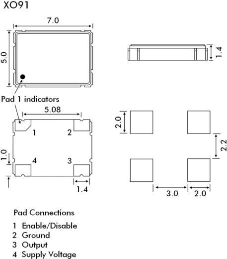 SMD kvarc oszcillátor, 25,00000 MHz, méret: 7 x 5 x 1,7 mm, EuroQuartz 25,000MHZ XO91050UITA