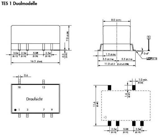 DC/DC átalakító, TES 1 sorozat, bemenet: 12 V/DC, kimenet: ±5 V/DC ±100 mA 1 W, TracoPower TES 1-1221