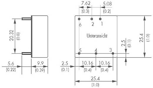 DC/DC átalakító, THN 15 sorozat, bemenet: 9 - 36 V/DC, kimenet: 12 V/DC 1300 mA 15 W, TracoPower THN 15-2412WI