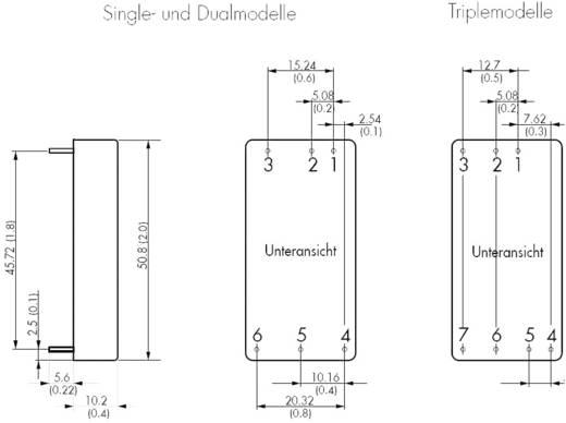 DC/DC átalakító, 30 W, bemenet: 9 - 36 V/DC, kimenet: ±15 V/DC ±1000 mA 30 W, TracoPower TEN 30-2423WIN