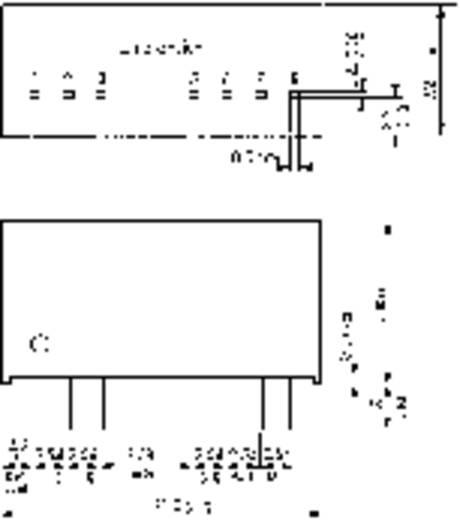 DC/DC átalakító, TMR 3 sorozat, 3 Watt, bemenet: 18 - 36 V/DC, kimenet: ±12 V/DC ±125 mA 3 W, TracoPower TMR 3-2422