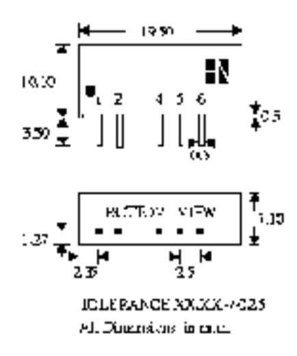 DC/DC átalakító, 2 W, SIM2 SIL7 sorozat, bemenet: 9 V, kimenet: ±5 V ±200 mA 2 W, HN Power SIM2-0905D-SIL7