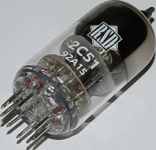 Elektroncső 2 C 51 = 6 N 3, pólusszám 9, novál foglalat, Kettős trióda