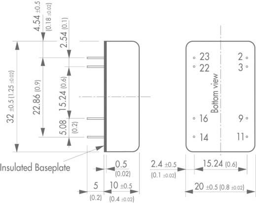 DC/DC átalakító, 5 - 6 Watt, 2:1 bemenet, bemenet: 9 - 18 V/DC, kimenet: ±12 V/DC ±250 mA 6 W, TracoPower TEN 5-1222