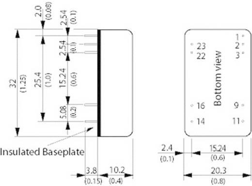 DC/DC átalakító, 8 Watt, 4:1 bemenet, bemenet: 9 - 36 V/DC, kimenet: ±12 V/DC ±335 mA 8 W, TracoPower TEN 8-2422WI