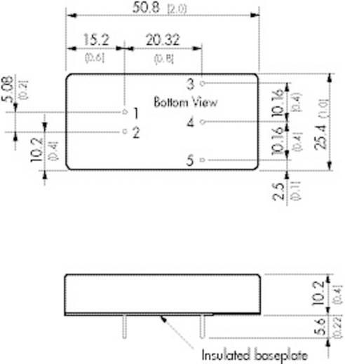 DC/DC átalakító, 15 W, 2:1 bemenet, bemenet: 18 -36 V/DC, kimenet: 12 V/DC 1250 mA 15 W, TracoPower TEN 15-2412