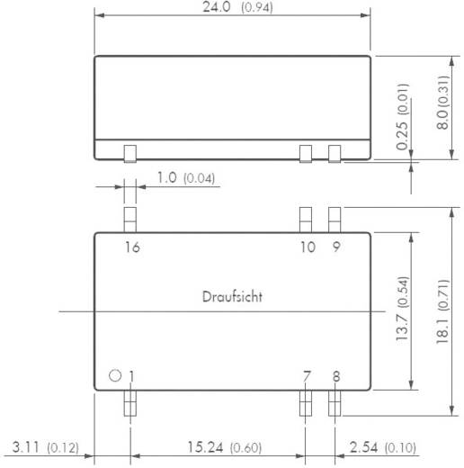DC/DC átalakító, 2 W, SMD ház, bemenet: 9 - 18 V/DC, kimenet: ±5 V/DC ±200 mA 2 W, TracoPower TES 2N-1221