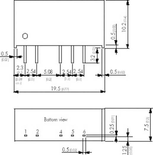 DC/DC átalakító, TMH sorozat, 2 Watt, SIL-7, bemenet: 24 V/DC, kimenet: ±12 V/DC ±80 mA 2 W, TracoPower TMH 2412D