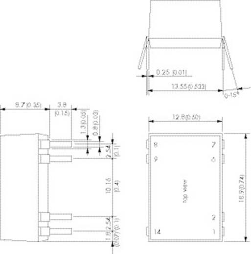 DC/DC átalakító, 3 W, DIL ház, bemenet: 4,5 - 18 V/DC, kimenet: ±12 V/DC ±125 mA 3 W, TracoPower TDR 3-1222WI