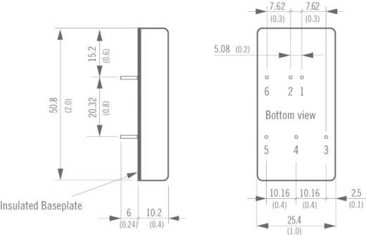 DC/DC átalakító, 15 Watt, 4:1 bemenet, bemenet: 9 - 36 V/DC, kimenet: ±12 V/DC ±625 mA 15 W, TracoPower TEN 15-2422WI