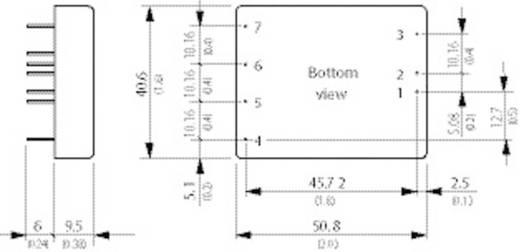 DC/DC átalakító, 30 Watt, 2:1 bemenet, bemenet: 36 - 75 V/DC, kimenet: 12 V/DC 2500 mA 30 W, TracoPower TEN 25-4812