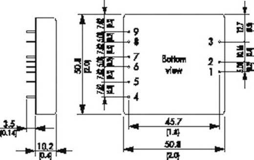 DC/DC átalakító, 40 Watt, 2:1 bemenet, be: 9 - 18 V/DC, ki: 5/+15/-15 V/DC 6/0,3/0,3 A 40 W, TracoPower TEN 40-1232