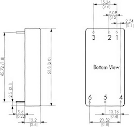DC/DC átalakító, 30 Watt, 2:1 bemenet, bemenet: 9 - 18 V/DC, kimenet: ±5 V/DC ±3000 mA 30 W, TracoPower TEN 30-1221