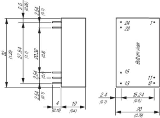 DC/DC átalakító, bemenet: 18 - 80 V/DC, kimenet: ±12 V/DC ±125 mA 3 W, TracoPower THP 3-4822