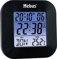 Rádiójel vezérelt digitális ébresztőóra, fekete, Mebus 51510 Mebus