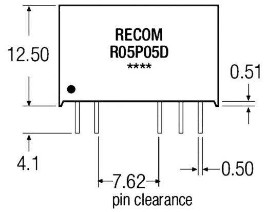 1 W-os DC/DC átalakító, be: 5 V/DC, ki: 5 V/DC, 200 mA, 1 W, Recom International R05P05S/R8