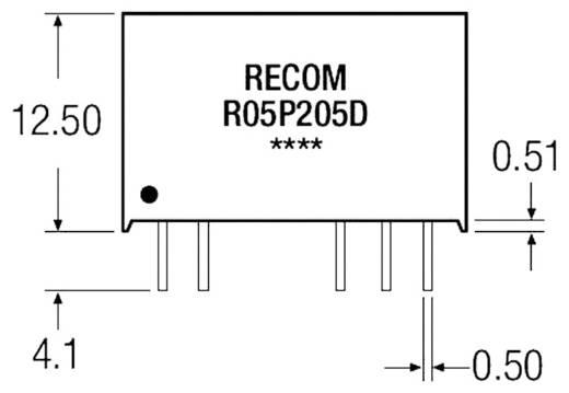 2 W-os DC/DC átalakító, be: 5 V/DC, ki: 5 V/DC, 400 mA, 2 W, Recom International R05P205S/R8