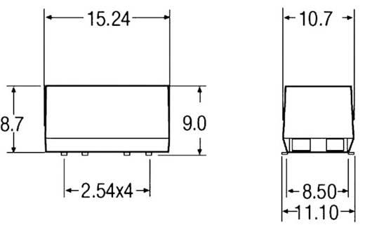 2 W-os DC/DC átalakító, be: 12 V/DC, ki: 5 V/DC, 400 mA, 2 W, Recom International R2S-1205