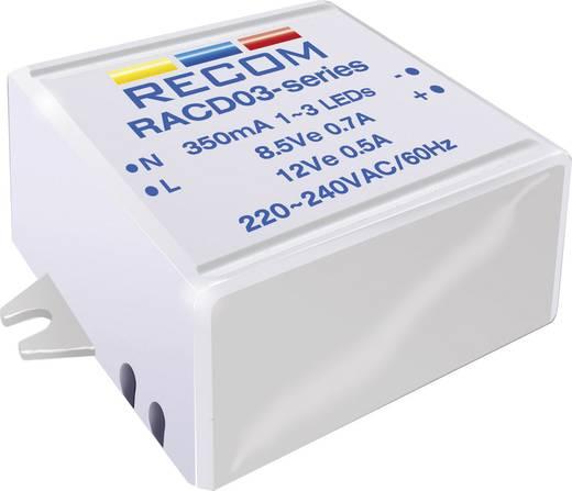 Állandó LED áramforrás 350 mA, 90-264 V/AC, Recom Lighting RACD03-350
