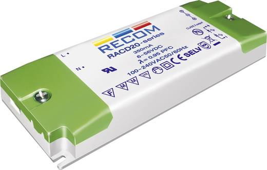 Állandó áramú LED tápegység 350 mA, 6-56 V/DC, 20 W, Recom Lighting RACD20-350