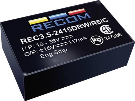 3,5 W-os DC/DC átalakító, be: 4,5 - 9 V/DC, ki: 12 V/DC, 290 mA, 3 W, Recom International REC3.5-0512SRW/R10/A