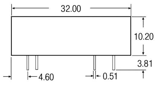 3 W-os DC/DC átalakító, be: 24 V/DC, ki: 5 V/DC, 600 mA, 3 W, Recom International REC3-2405SR/H1
