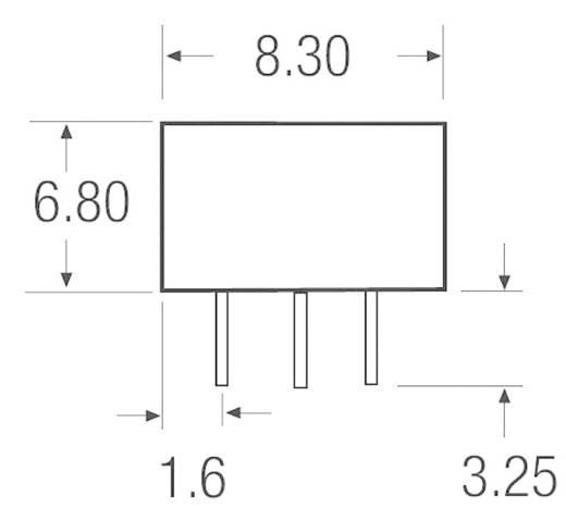 1 W-os DC/DC átalakító, be: 3,3 V/DC, ki: 3,3 V/DC, 200 mA, 1 W, Recom International RNM-3.33.3S