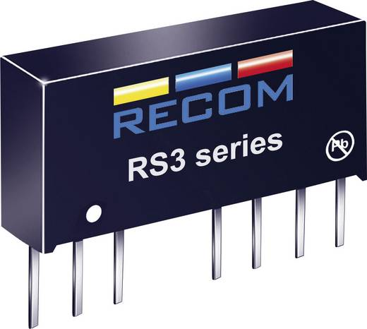 3 W-os DC/DC átalakító, be: 4,5 - 9 V/DC, ki: 5 V/DC, 600 mA, 3 W, Recom International RS3-0505S