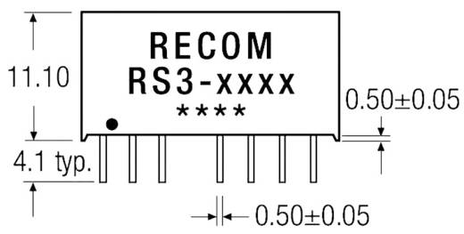 3 W-os DC/DC átalakító, be: 9 - 18 V/DC, ki: ±5 V/DC, ±300 mA, 3 W, Recom International RS3-1205D