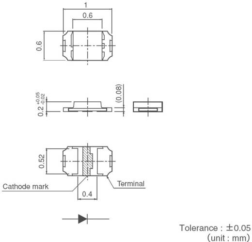 PICOLED-eco SMD LED 2,1 mcd, 50°, 1 mA, 1,9 V, zöld-sárga, ROHM Semiconductor SML-P11MT