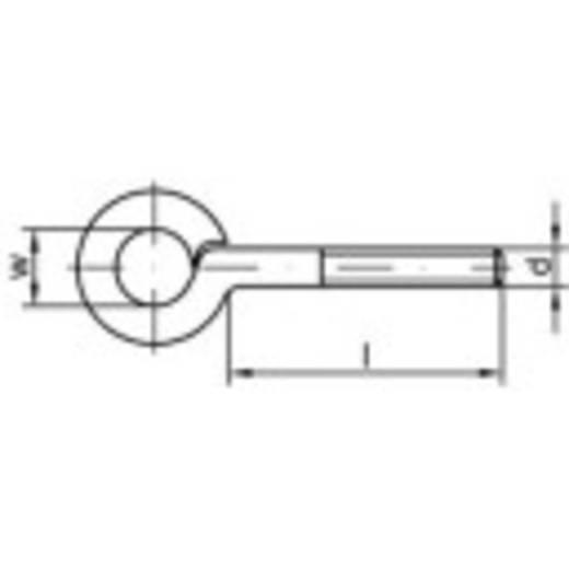 Gyűrűs csavar, típus 48 korrózióálló acélból 10 mm x 30 mm A2 M6 50db Toolcraft 88136