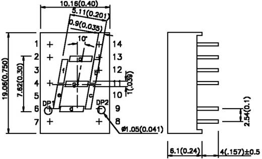 LED kijelző zöld 19x10,1x6,1mm A