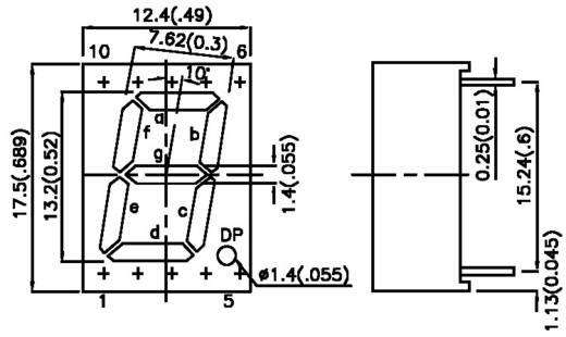 LED kijelző zöld 17,5x12,4x7mm K