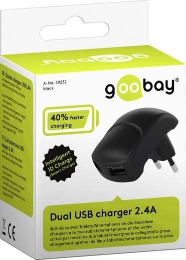 Hálózati USB töltő adapter, 2 USB A aljzattal, 2400 mA, fekete, Goobay Dual 59232