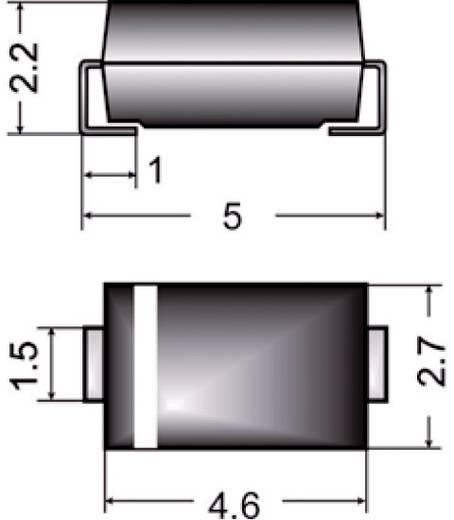 SMD dióda, ház típus: SMA, I(F) 2 A, zárófeszültség: U(R) 1 kV, Semikron FR2SMA-M