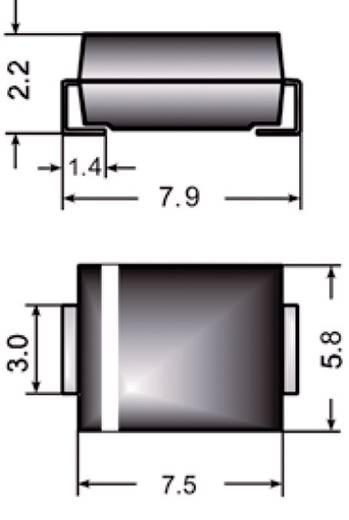 SMD Zener dióda, ház típus: SMC, P(tot) 3 W Zenerfeszültség: 12 V, Semikron Z3SMC12