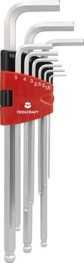 Belső hatlapú csavarhúzó készlet, hajlított, gömbfejű, 9 részes, Toolcraft HEX SE