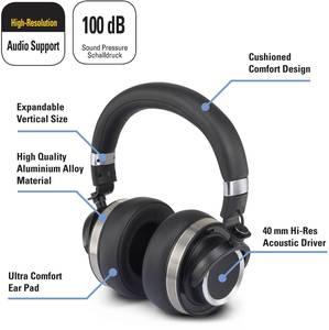 Stúdió fejhallgató, ezüst, Renkforce Over Ear Renkforce