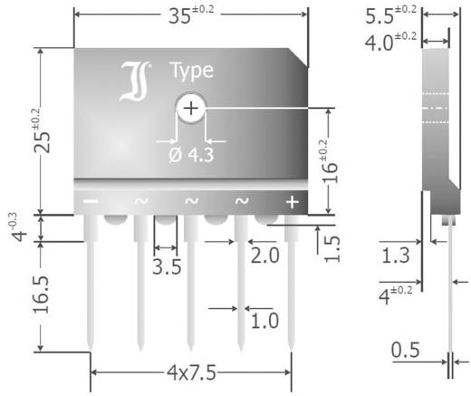 3 fázisú híd egyenirányító, névleges áram: 25 A , U(RRM) 800 V, Diotec DBI25-08A