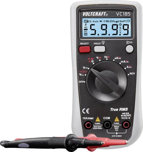 VOLTCRAFT VC185 Kézi multiméter digitális Kalibrált: Gyári standard (tanusítvány nélkül) CAT III 600 V Kijelző (digitek