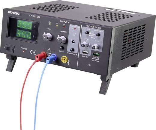 Labortápegység, szabályozható VOLTCRAFT VLP-1303 USB 0 - 30 V 0.01 - 3 A 123 W OVP Kimenetek száma 3 x