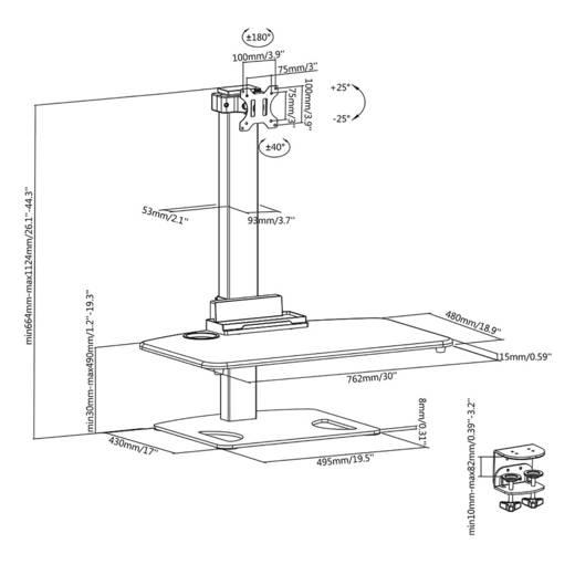 """SpeaKa Professional ErgoFit Workstation Stand 33,0 cm (13"""") - 81,3 cm (32"""") Dönthető + forgatható, Forgatható"""