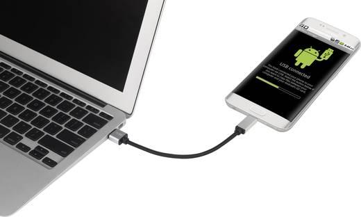 USB 3.1 kábel, 1x USB 3.0 dugó A - 1x USB C dugó, 0,15 m, fekete/ezüst, Renkforce