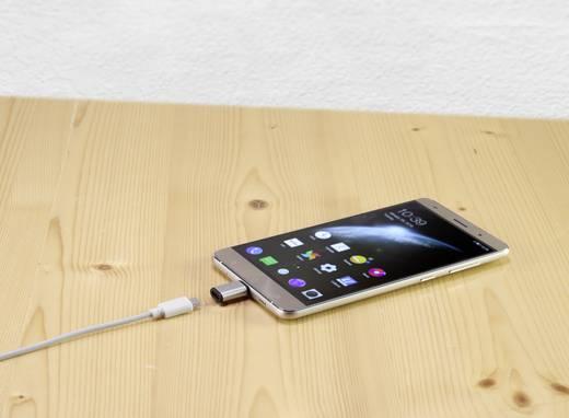 USB 2.0 átalakító adapter, 1x USB C dugó - 1x USB 2.0 alj micro B, fekete/ezüst, Renkforce