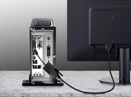 DVI/VGA átalakító adapter, 1x DVI dugó - 1x VGA alj 24+1 pól., aranyozott, fekete, ferrittel, Renkforce