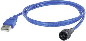 encitech USB 2.0 Csatlakozókábel [1x USB 2.0 dugó, mini B típus - 1x USB 2.0 dugó, A típus] 5.00 m Fekete, Kék encitech