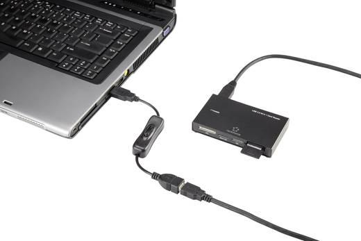 USB hosszabbítókábel kapcsolóval, 1x USB 2.0 dugó A - 1x USB 2.0 alj A, 0,25 m, fekete, aranyozott, Renkforce