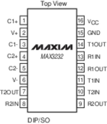 Transceiver, ház típus: DIP-16, MAX 3232 CPE