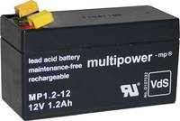multipower PB-12-1,2-4,8 MP1,2-12 Ólomakku 12 V 1.2 Ah Ólom-vlies (AGM) (Sz x Ma x Mé) 97 x 59 x 43 mm 4,8 mm-es laposér multipower