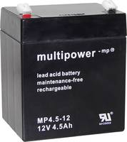 multipower PB-12-4,5-4,8 MP4,5-12 Ólomakku 12 V 4.5 Ah Ólom-vlies (AGM) (Sz x Ma x Mé) 90 x 107 x 70 mm 4,8 mm-es laposé multipower